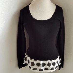 INC Black Peplum Sweater Polka Dot Ruffle Hi Lo S